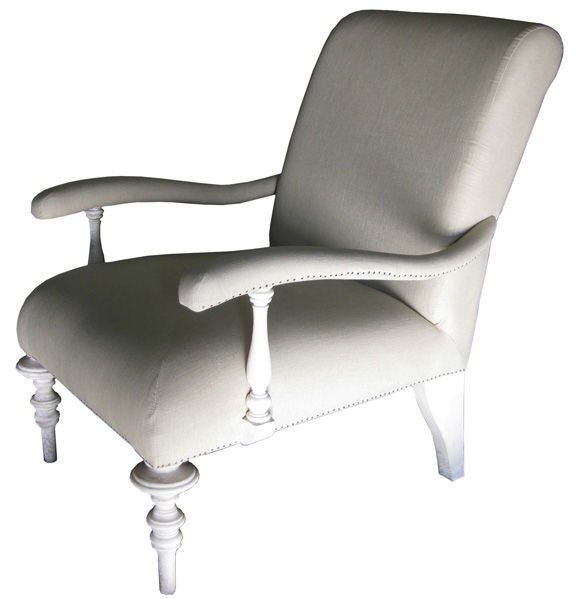 Linen comfy chair for sale at 1stdibs for Comfy chairs for sale