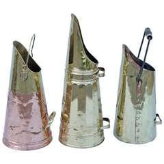 English Brass & Copper Coal Scuttles