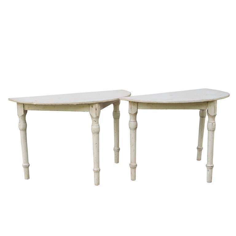 pair of demi lune tables for sale at 1stdibs. Black Bedroom Furniture Sets. Home Design Ideas