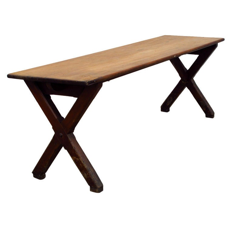 French Trestle Table At 1stdibs