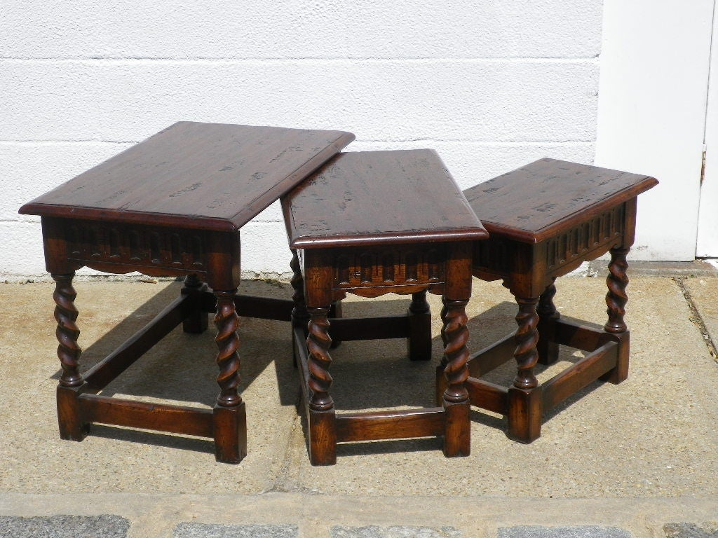 Oak nesting tables with barley twist legs for sale at stdibs