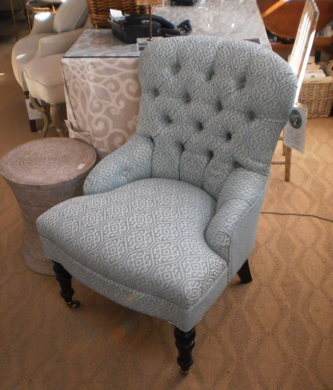 Custom Upholstered Button Back Chairs For Sale At 1stdibs