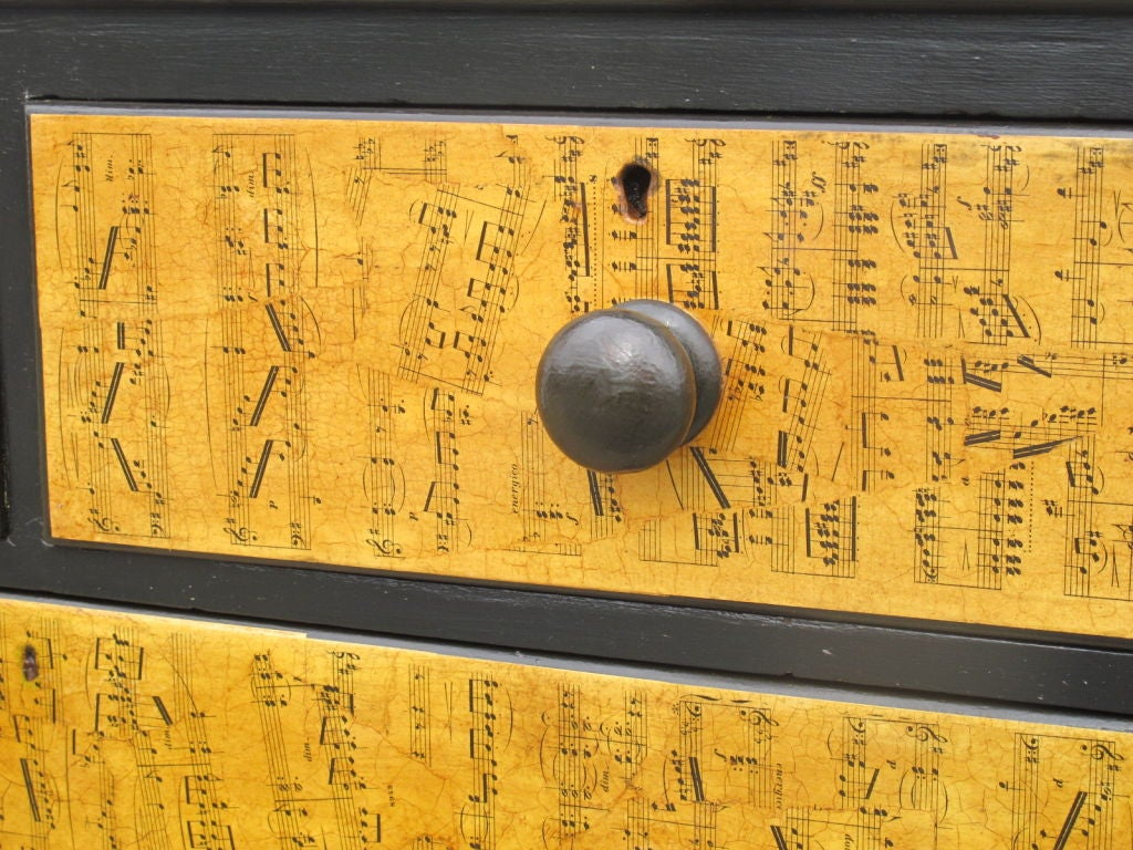 Mid-20th Century Chest of Drawers with Decoupage Music Sheets For Sale
