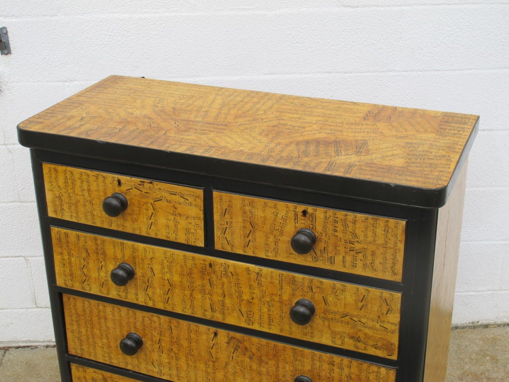 Paper Chest of Drawers with Decoupage Music Sheets For Sale