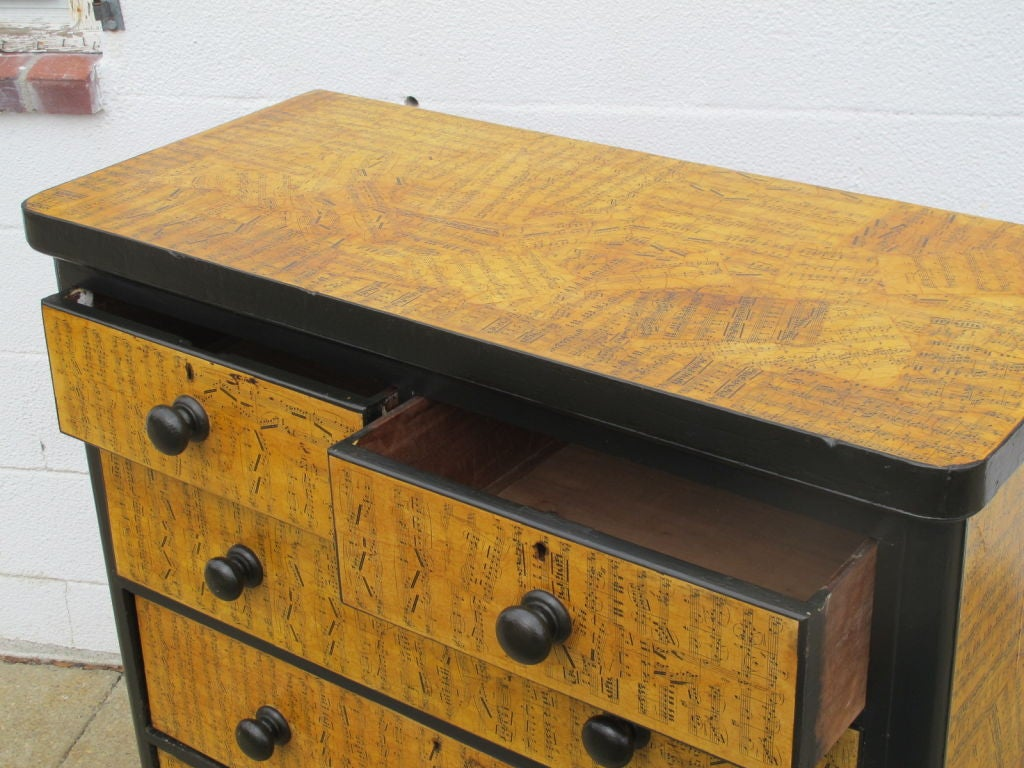 Chest of Drawers with Decoupage Music Sheets For Sale 2