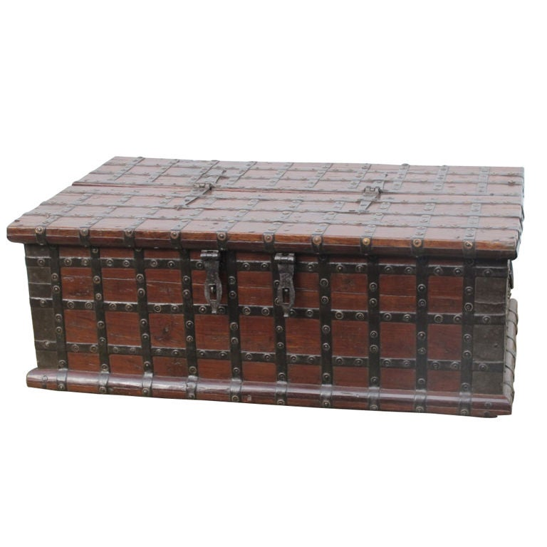 Unusual indian metal bound trunk for sale at 1stdibs Indian trunk coffee table