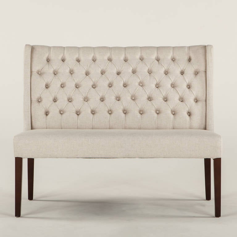 Tufted Linen Banquette For Sale At 1stdibs