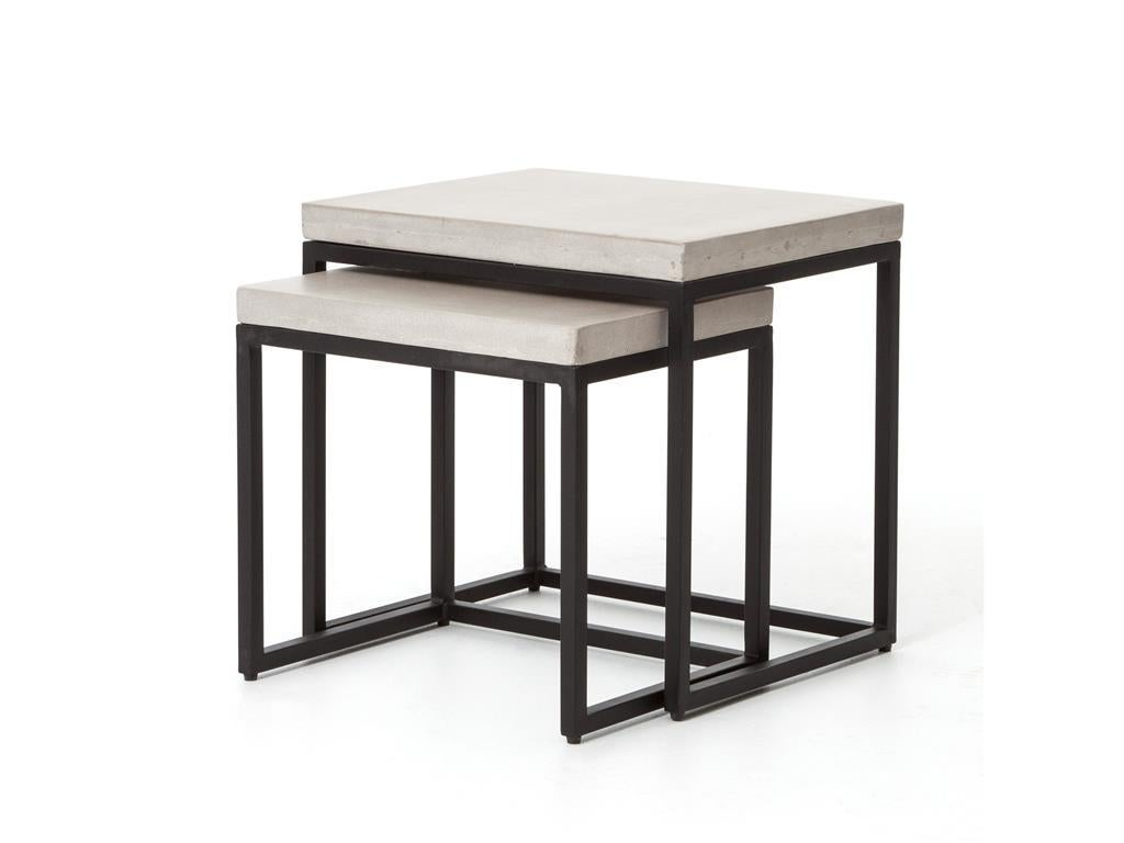 Concrete and iron nesting side tables for sale at stdibs