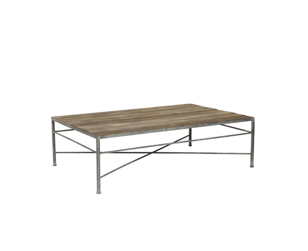 Reclaimed Elm And Metal Coffee Table For Sale At 1stdibs