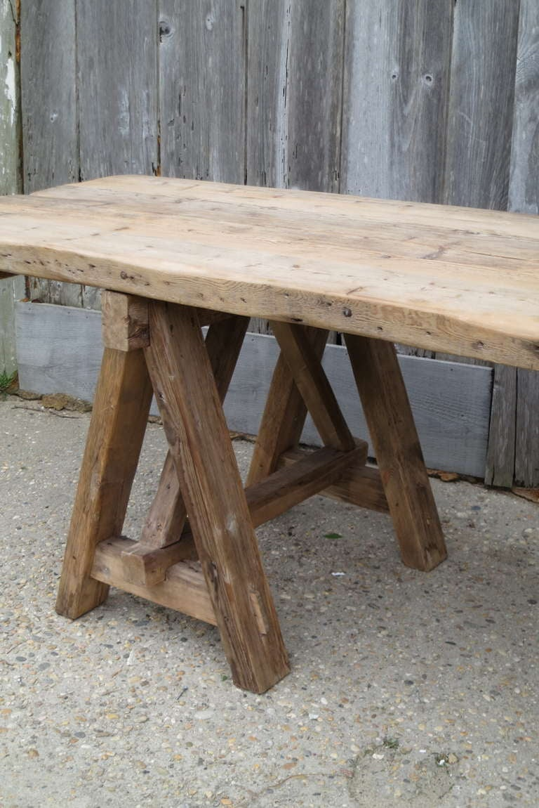 Long rustic trestle table at 1stdibs for Long rustic table