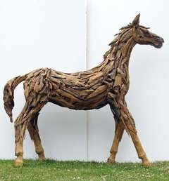 Life-Sized Teak Horse