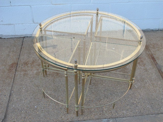 french brass and glass cocktail nesting tables at 1stdibs
