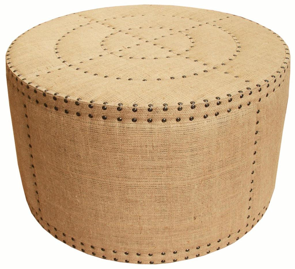 Silver Studded Coffee Table: Burlap Ottoman For Sale At 1stdibs