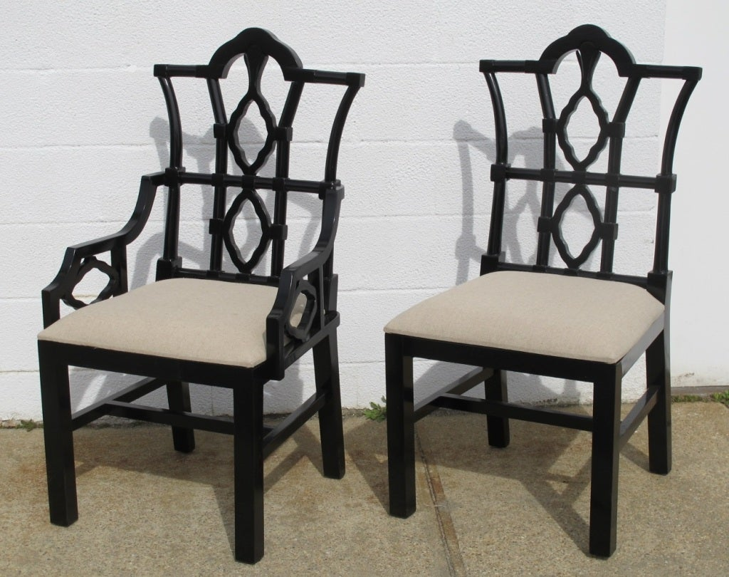 Birch Dining Chairs In A Distressed Black Finish, With Linen Upholstered  Seats. Priced And
