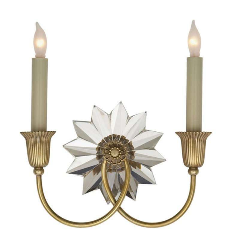 Double Sconce Antique Brass and Crystal For Sale at 1stdibs
