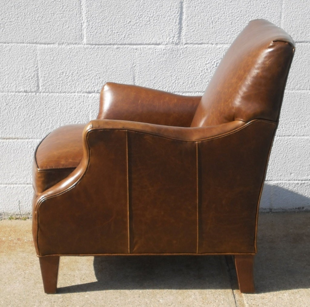Leather Upholstered Club Chair For Sale At 1stdibs