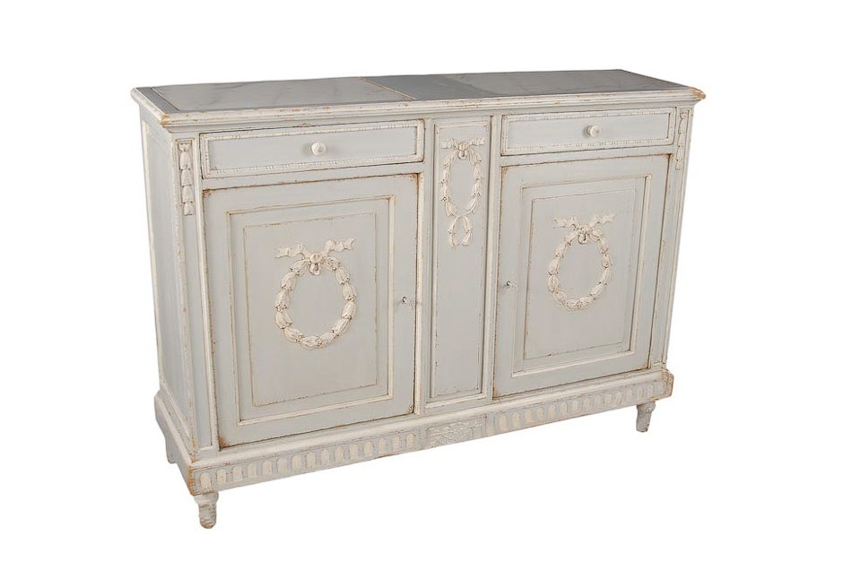 Marble Top Grey Painted Sideboard At 1stdibs