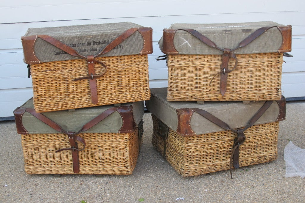 Vintage Baskets With Leather Detailing At 1stdibs