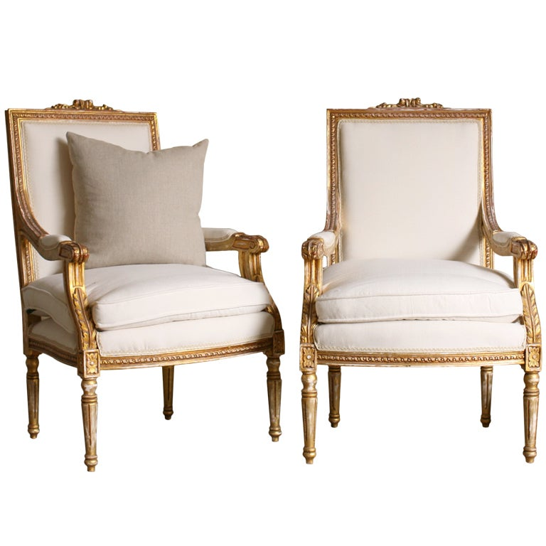 Pair Louis Xvi Style Armchairs At 1stdibs