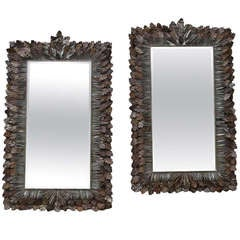 Pair French Oak Leaf Mirrors