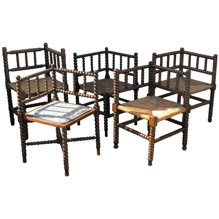 Collection of Bobbin Corner Chairs at 1stdibs