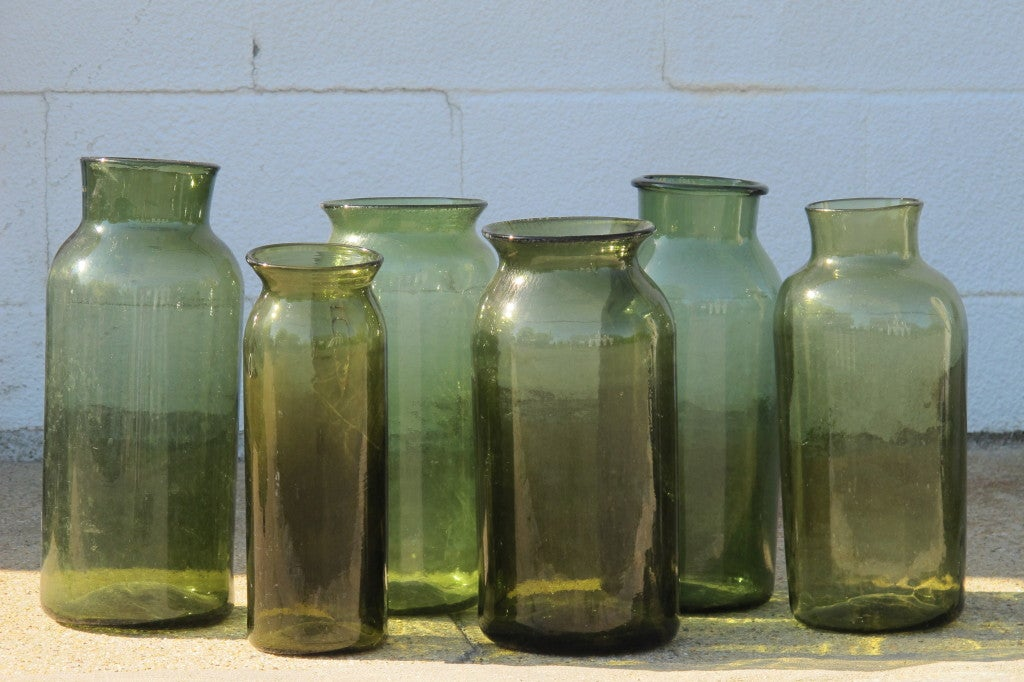 French Hand Blown Green Glass Storage jars for Olives. Sold separately. circa 1880