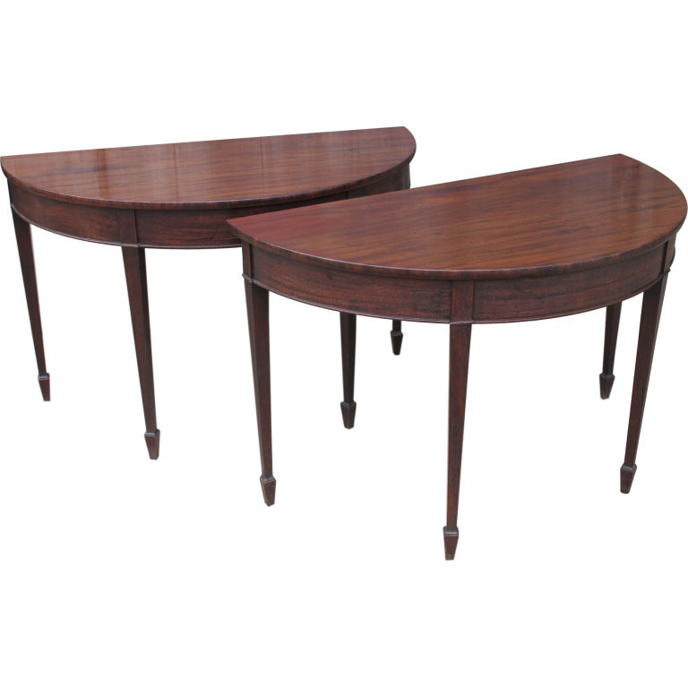 English mahogany demi lune tables at 1stdibs for Chaise demi lune