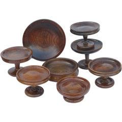 English Decorative Oak Bowls