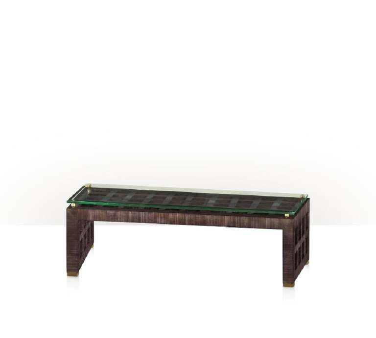 Glass Top Lattice Coffee Table For Sale At 1stdibs