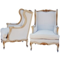 Pair Louis XV Style Wingback Chairs