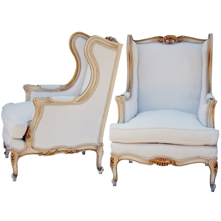 Pair Louis XV Style Wingback Chairs at 1stdibs