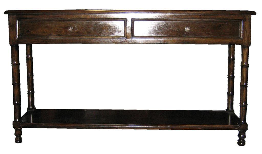 Black Faux Bamboo Sofa Table Image 3