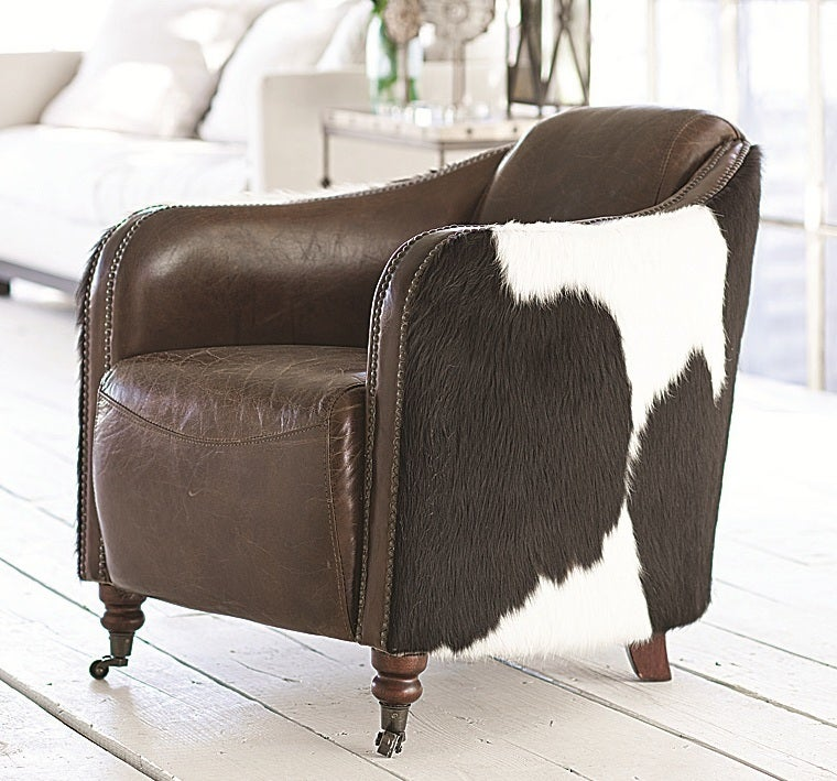 Leather and Cowhide Club Chair at 1stdibs