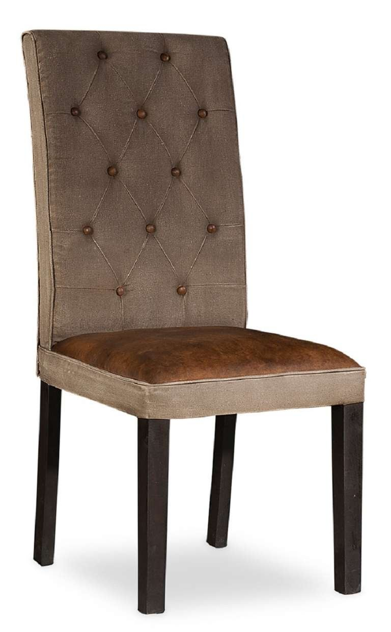Tufted linen and leather dining chair at 1stdibs for Tufted leather dining room chairs