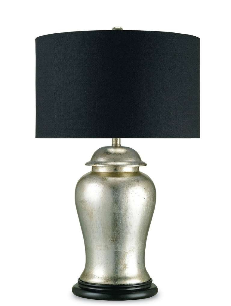 silver and black ginger jar table lamp for sale at 1stdibs. Black Bedroom Furniture Sets. Home Design Ideas