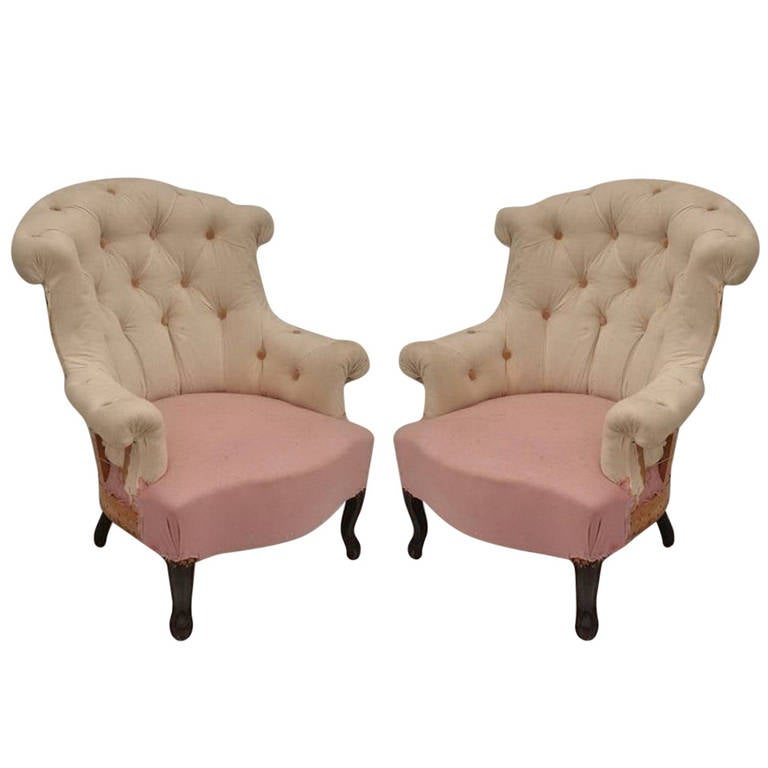 Pair of French Tufted Armchairs