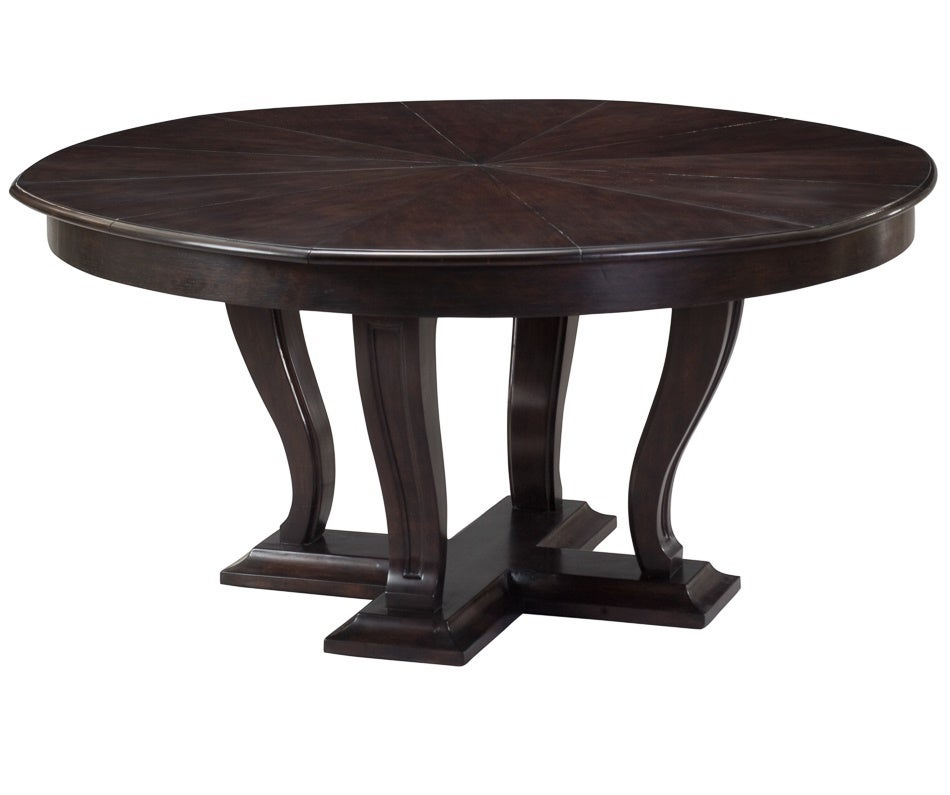 Modern walnut expanding dining table multiple sizes for for Dining table length