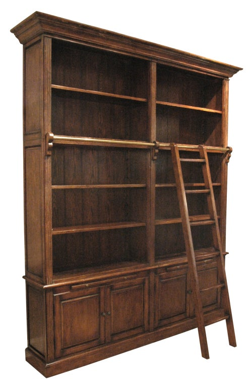 Double Bookcase With Ladder At 1stdibs