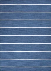 Blue Dhurrie with White Stripes