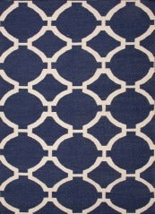 Blue Dhurrie with White Pattern