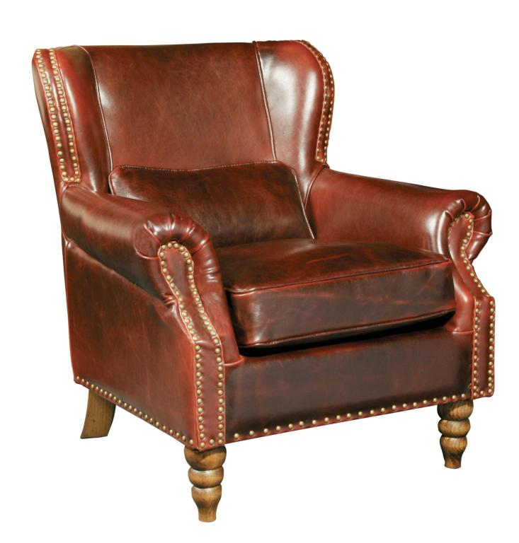 Classic Leather Wing Back Chair