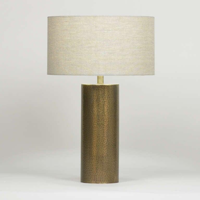 hammered antique brass table lamp for sale at 1stdibs. Black Bedroom Furniture Sets. Home Design Ideas