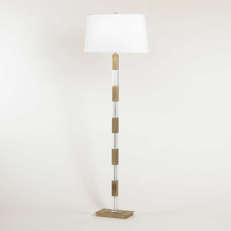 Crystal and metal square base floor lamp for sale at 1stdibs