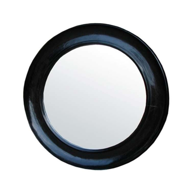 Round high gloss black mirror at 1stdibs for Round black wall mirror