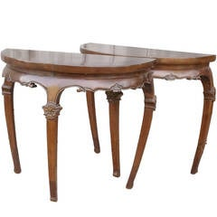 Unusual Pair of Chinese Demilune Tables