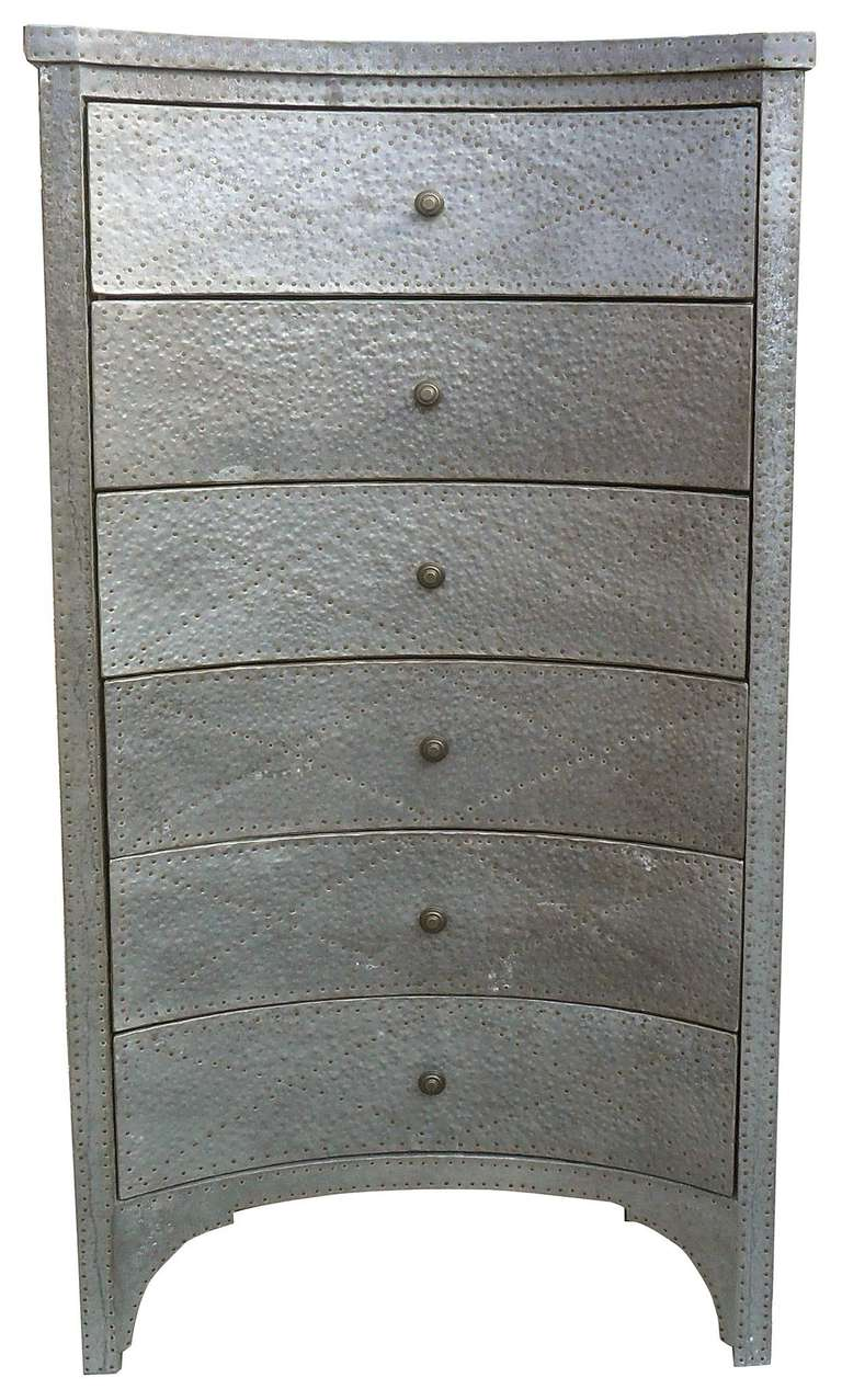 Hammered Metal Tall Chest Of Drawers At 1stdibs