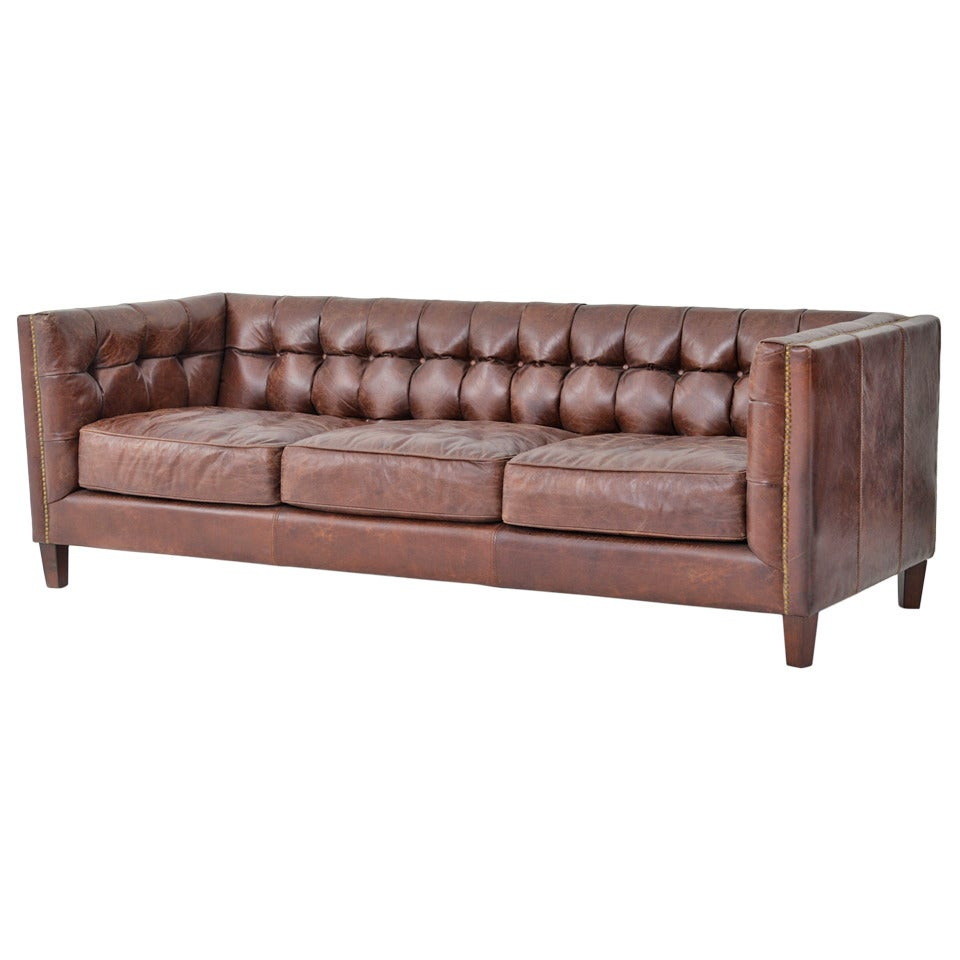 tufted leather tuxedo sofa for sale at 1stdibs. Black Bedroom Furniture Sets. Home Design Ideas