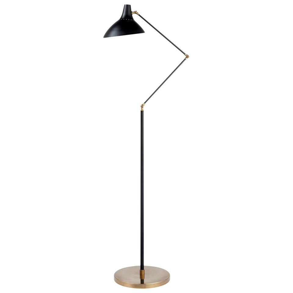 Black and brass floor lamp at 1stdibs for Chunky brass floor lamp