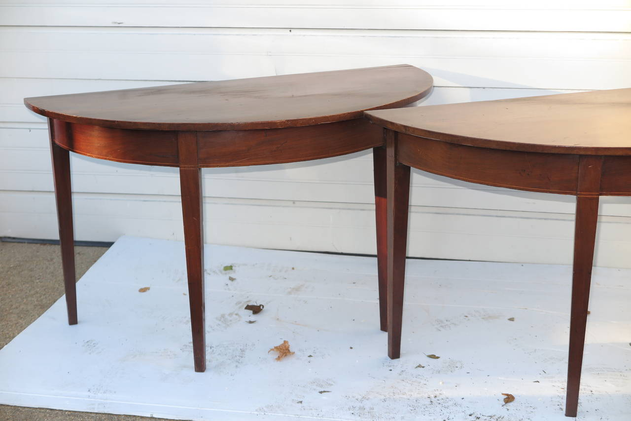 British Pair of Demilune Tables For Sale