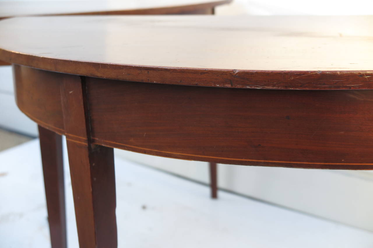 Late 19th Century Pair of Demilune Tables For Sale